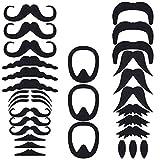PRETYZOOM Moustaches Auto-Adhésif Ensemble Noir Moustaches Réalistes Nouveauté...