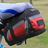 Evecase Bolsa para Sillín de Bicicleta, Alforja para Sillín, Negro y Rojo, Mediano