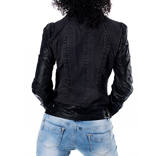 H286 Damen Jeans Jacke Jacket Kunstlederjacke Kunstleder Jeansjacke Lederimitat Schwarz