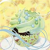 Artland Qualitätsbilder I Glasbilder Deko Glas Bilder 20 x 20 cm Ernährung Genuss Süßspeisen Dessert Foto Grün A6FQ Cupcake auf gelb - Kuchen
