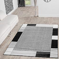 Alfombra De Salón Moderna Económica Diseño Ribete Gris Negro 240 x 340 cm medidas inferiores disponibles