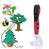 Pluma de impresión 3D, Impresora 3D Pluma con Pantalla LED, control de Temperatura y 3 Velocidades, Diseño de Seguridad, PCL, 3D Impresion Pen Juguetes/Regalos para Niños