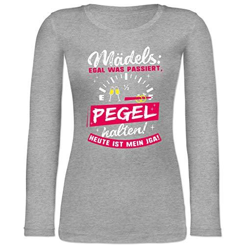 Shirtracer JGA Junggesellinnenabschied - Mädels: Egal was passiert, Pegel halten! Heute ist Mein JGA! - S - Grau meliert - BCTW071 - Langarmshirt Damen