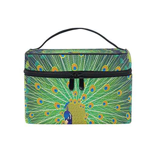 tic Bag Canvas Travel Kulturbeutel Spitzenhandgriff Single Layer-Verfassungs-Beutel-Organisator Multi-Funktions-kosmetischer Fall für Groß Mehrfarbig (Peacock Make Up)
