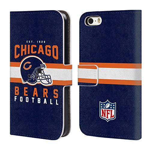 Head Case Designs Offizielle NFL Helm-Buchdruckerkunst 2018/19 Chicago Bears Brieftasche Handyhülle aus Leder für iPhone 5 iPhone 5s iPhone SE - Chicago Design