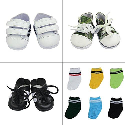 ZITA ELEMENT Zapatos de Muñeca Hecha a Mano - 3 Pares Zapatos y 6 Pares Calcetines para 18 Pulgadas/ 45-46cm American girl / boy Muñeca Logan