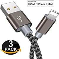 Cable Lightning - Zeuste Cable iPhone [3PACK 1.5M] de Nylon Trenzado para iPhone X/8/8Plus/ 7 7Plus SE 6s 6 Plus 5s 5c 5 se, iPad Pro Air 2, iPad mini 4 3 2, iPod touch 5th gen / 6th gen / Nano 7th gen, Gris Cable iPhone (Gris)