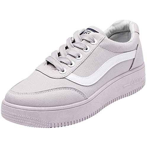 Oasap Women's Low Top Lace-up Casual Flat Platform Sneakers Grey