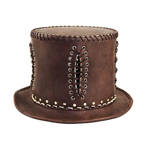 Gentleman Kostüm Steampunk - JHHXW Zylinder Steampunk Industrie Retro Gentleman Hut Pu Leder Halloween Party Party Cosplay Requisiten (Size : L)