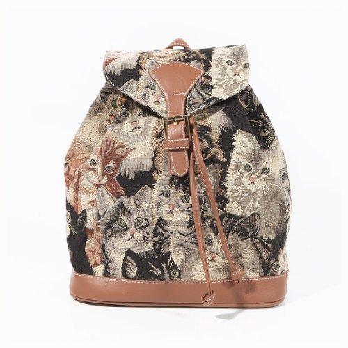 Handbag Queen - Zainetto fashion in tela da donna, motivo: gatto portafortuna