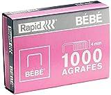 Rapid Agrafes BÉBÉ, Longueur 4 mm, 4000 agrafes, Agrafe jusqu'à 15 feuilles, Fil robuste cuivré, 11974686