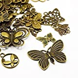 30 Grams Antique Bronze Tibetan Random Shapes & Sizes Charms (BUTTERFLY) - (HA07040) - Charming Beads