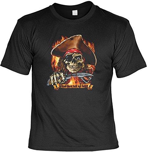 Unbekannt Piraten Totenkopf Knochen Motiv T-Shirt :: Dead men tell no tales - T-Shirt bedruckt (Tin Halloween Man)