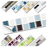 Wandora 1 Set Fliesenaufkleber 25,3 x 3,7 cm blau schwarz weiß Design 14 I 3D Mosaik Fliesenfolie Küche Bad Aufkleber W1536