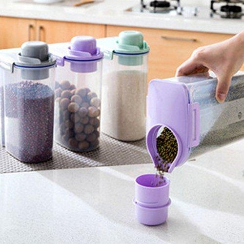 Lanlan Küche Kunststoff getrocknet Lagerkästen Müslischalen Lebensmittelbehälter transparent versiegelt, violett (Snap-lock-kunststoff-behälter)