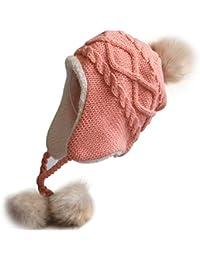 Butterme Baby Kleinkind warme Earflap Mützen Hut gestrickte Pom Pom ausgekleidet Cap Winter,S-2-4 Jahre alt, Rosa