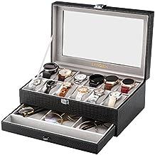 LANGRIA Caja para Relojes en Piel Sintética de 12 Compartimentos con Cojines Extraíbles Bandeja Inferior para Accesorios Interior Aterciopelado Tapa de Cristal Cierre Metálica (Negro/Interior Gris)
