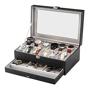 langria boite montre homme coffret montre faux cuir 12 compartiments bo te rangement double. Black Bedroom Furniture Sets. Home Design Ideas