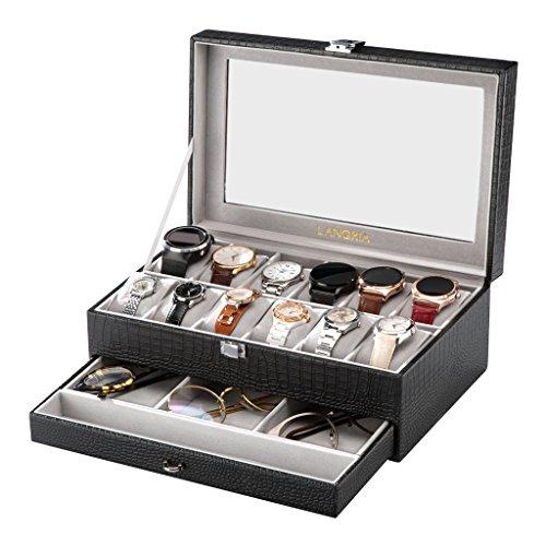 LANGRIA Doppelte Uhren und Brillen 12 Aufbewahrungsbox mit deckel abschließbar Uhrenbox Uhrenkoffer Uhrenkasten, grau