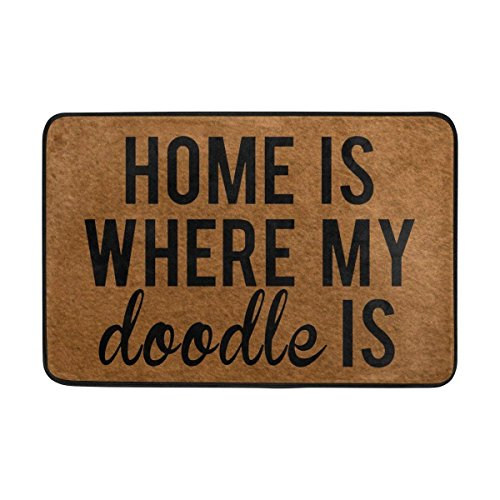 Entrance Doormat Home Is Where My Doodle Is Indoor Zerbino Non-Slip Doormat 23.6 by 15.7 inch Interlayer Polyester Machine Washable Polyester Fabric