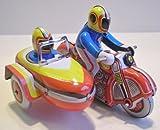 Motorrad Beiwagen aus Blech zum Aufziehen, Blechspielzeug