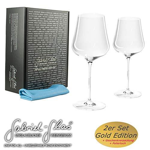 Gabriel-Glas | Gold Edition im 2 er Set | mundgeblasenes Weinglas | 90 Gramm | spülmaschinenfest | + speziellem Gläser-Poliertuch
