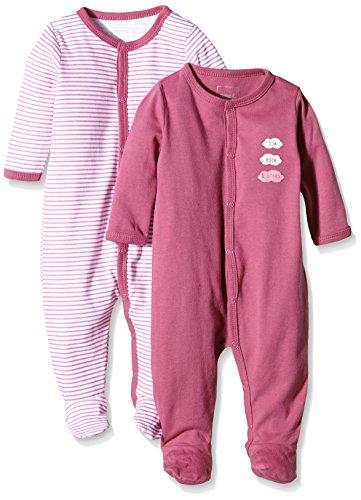 NAME IT Baby-Mädchen Schlafstrampler NITNIGHTSUIT W/F NB G NOOS, 2er Pack, Gr. 68, Mehrfarbig (Red Violet)