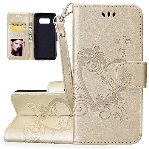 Faux Leder Herz (ISAKEN Kompatibel mit Samsung Galaxy S8 Hülle, PU Leder Brieftasche Geldbörse Wallet Case Handyhülle Tasche Schutzhülle Hülle mit Handschlaufe Strap für Samsung Galaxy S8 - Herz Blumen Gold)