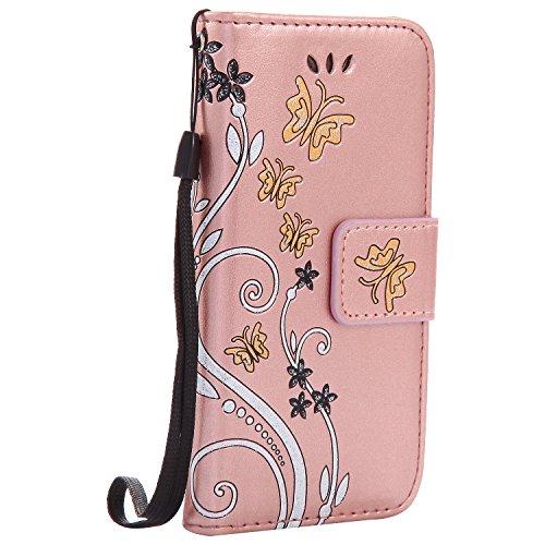 iPhone 5/5S/SE Case,MAGQI Premio Super Slim Fit Flip Pelle Sintetica Portafoglio Stile del Libro Custodia Borsa Con Slot Per Schede Funzione Dello Stand Chiusura Magnetica Sbalzato Rosa Fiore Farfalla Oro Rosa