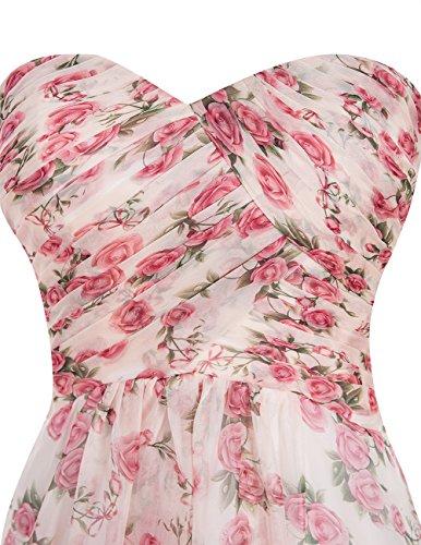 Dresstells, Robe de soirée fleurie forme empire sans bretelles longueur ras du sol en mousseline Corail