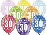 12 Luftballons 30 cm zum 30. Geburtstag - Zufällig gemischt aus 8 Farben - Kleenes Traumhandel®