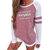 KOLY Donne Plus Size Tops Manica lunga Camicetta di ringraziamento Patchwork stampa girocollo Pullover miscela del cotone Moda T-shirt Patch Manica Allentata Casuale Sciolto Maglietta (Pink, S)