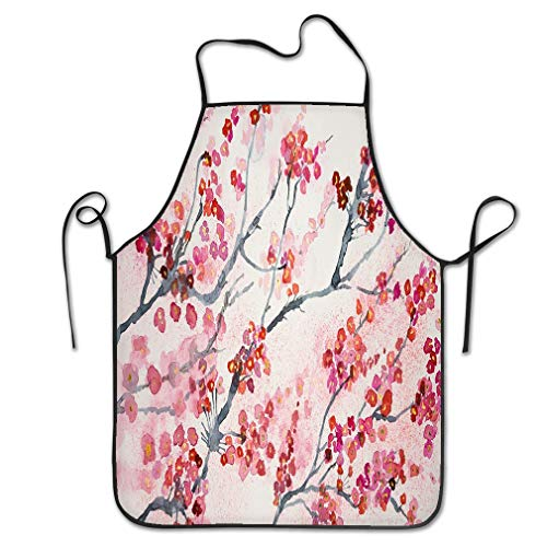 rwgfdgt Funny Personality Apron Branches Cherry Blossoms Dabbing Technique Gives Soft Focus Effect Due to Altered Surface Roughness Paper Happy Chef Kitchen Aprons 20.4 * 28.3 inch -