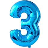 Amscan Super Shape Number 3 Balloon, Blue