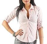 169 Mississhop Damen Klassische Hemdbluse Business Hemd Casual Bluse Oberteil Top Tunika T-Shirt Tailliert Unifarben Uni Rosa XL