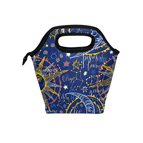 jstel Hand Drawn Astrologische Muster Lunch Bag Handtasche Lunchbox Frischhaltedose Gourmet Bento Coole Tote Cooler Warm Tasche für Reisen Picknick Schule Büro (Astrologische Hand)