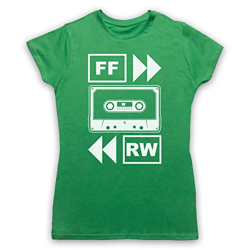 My Icon Art & Clothing Fast Forward Tape Cassette Camiseta para Mujer, Verde, Small