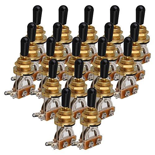 yibuy 3Way 3Position Gold Kippschalter mit Schwarz Gap für Eletric Gitarre Set von 20 (Zwei Position Momentary Schalter)