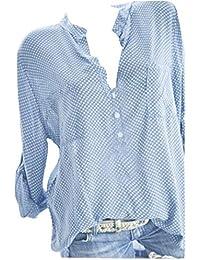 d7bd26c5b87e8b WWricotta Damen Bluse V-Ausschnitt Locker Hemd Vintage Blusenshirt Lose  Casual Langarm Tunika Oversize Oberteile