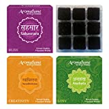 Aromafume 7 Chakra Tray Incense Bricks Pack Of 3 Fragrances (Sahasrara,Anahata & Swadhistana - 9 pcs each)
