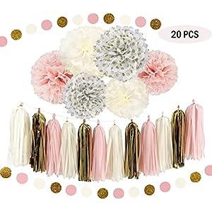 Abseed 20 Stück weiß creme pink Tissue Papier Pom Poms Seidenpapier Dekoration (20pcs)
