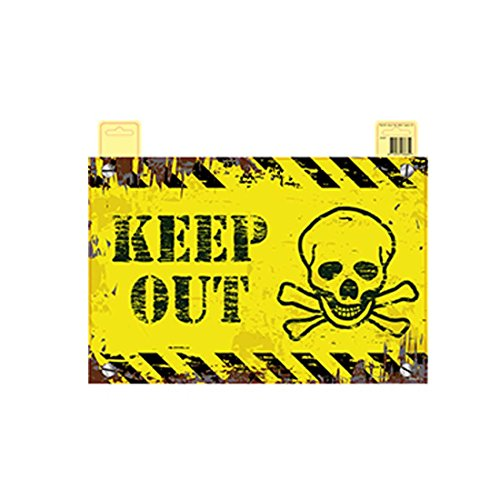 Amakando Party Warnschild Halloween Türschild Keep Out Deko Schild Tür Wandschild Wanddekoration Türdekoration Warnhinweisschild Partyschild ()