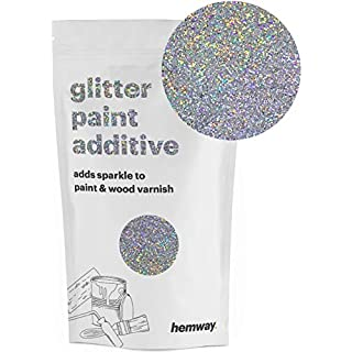 Hemway Silver Holographic Glitter Paint Additive 100g / 3.5oz for Acrylic Latex Emulsion Paint - Interior & Exterior Wall, Ceiling, Wood, Varnish, Dead Flat, Matt, Gloss, Satin, Silk