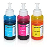 3 Tinten für Epson EcoTank L300 L350 L355 L365 L455 L550 L555 L565 L655 L100 L200 ET2550 ET2500 ET4500 ET4550 T6642 T6643 T6644, je 70ml