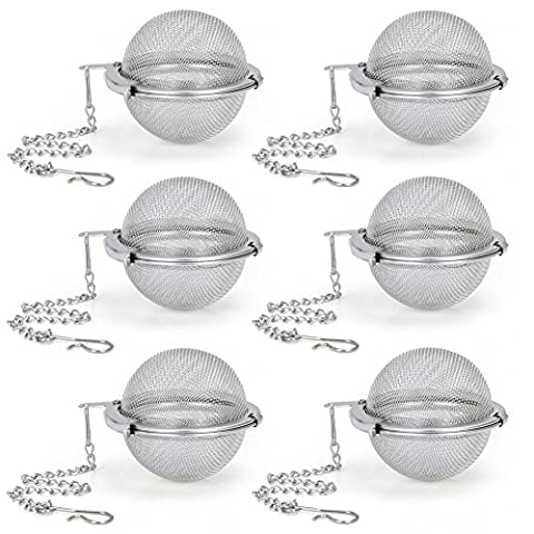 Tea Infuser, EZOWare Set of 6 Stainless Steel Mesh Tea Filter - Perfect Strainer for Loose Leaf Tea