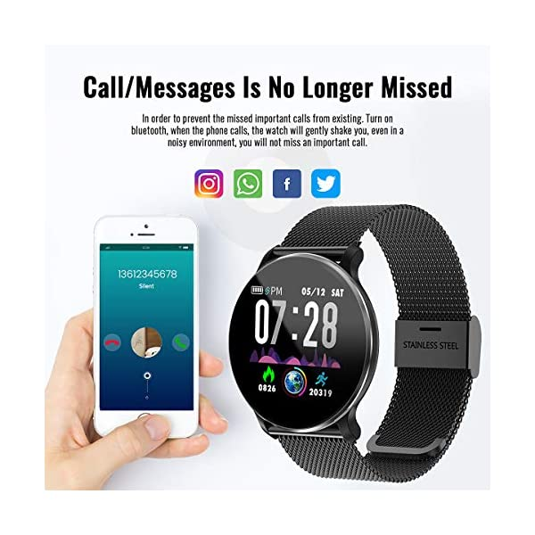 TagoBee TB11 Smartwatch Bluetooth IP68 Pulsera Inteligente Impermeable Reloj Movil HD Touch Screen Fitness Tracker Compatible con Android y iOS para Hombres Mujeres 4