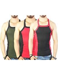Zimfit Men's Gym Vest 112 Pack Of 3 (Green_Red_Black)