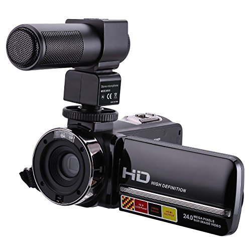 Videokamera Camcorder ,PowerDoF HDV-301M 1080P 16X Digitalzoom 3,0 Zoll TFT-LCD-Touchscreen Digital Videokamera mit externem Mikrofon