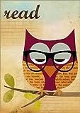 Poster 50 x 70 cm: Read Nerd Eule mit Brille von GreenNest - Hochwertiger Kunstdruck, Kunstposter