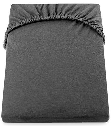 DecoKing 17616 80x200-90x200 cm Spannbettlaken Graphit 100% Baumwolle Jersey Boxspringbett Spannbetttuch Bettlaken Betttuch dimgray Amber Collection - 5